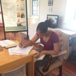 Joceline working on her article